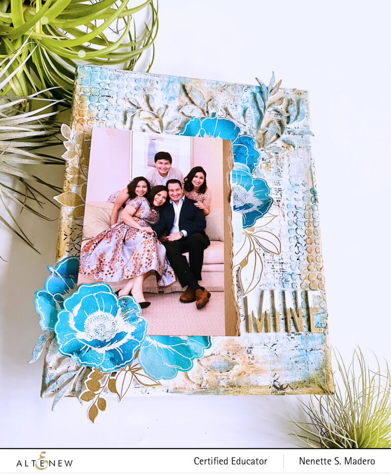 How to Create a Shabby Chic Background With Alcohol Inked Florals for a Scrapbook Layout on Canvas